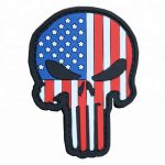 US flag skull PVC patch for military morale